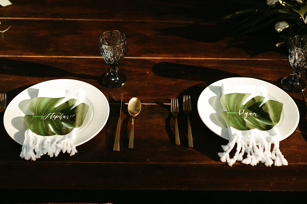Monstera Leaves Place Cards