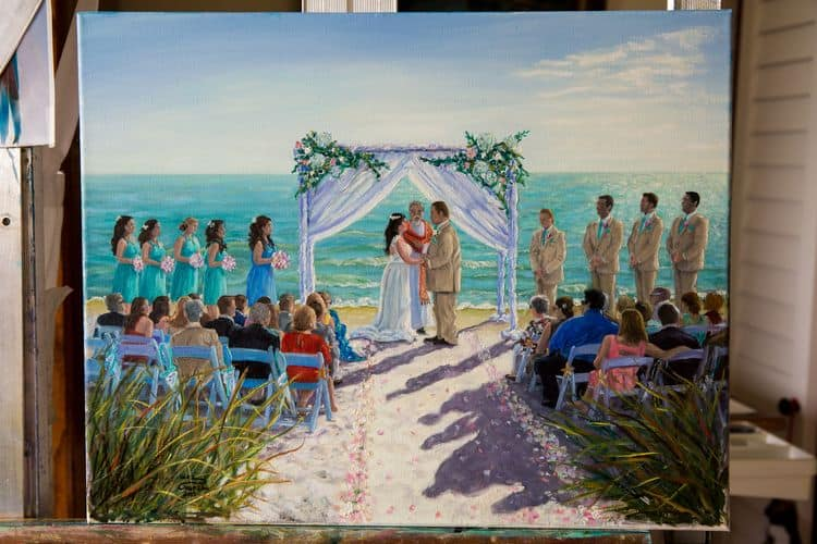 wedding ceremony canvas painted by Inez Hudson