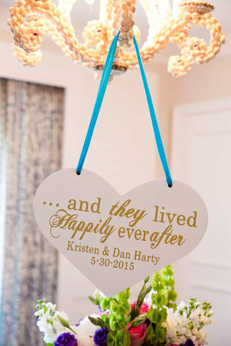 and they lived happily ever after custom wedding sign