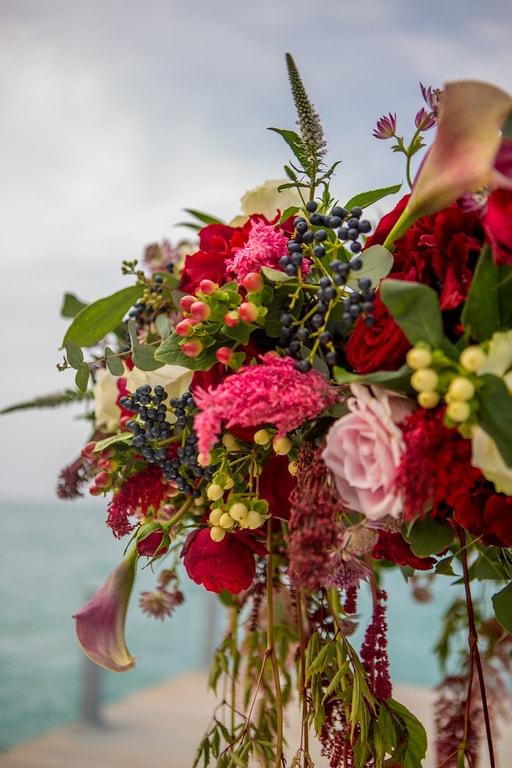 Nurai Island destination wedding red centerpiece