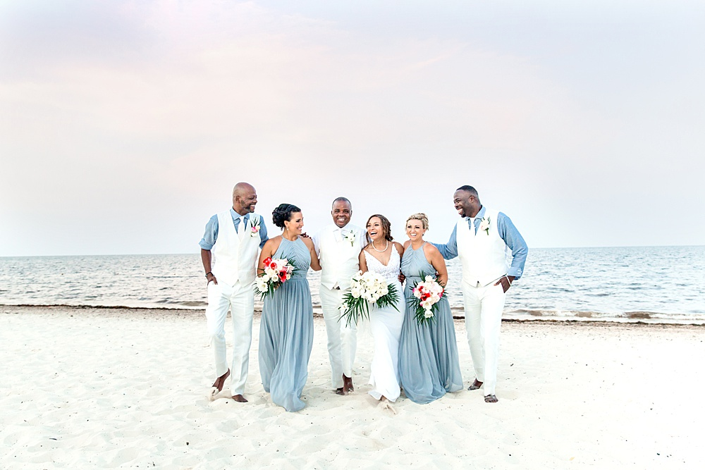 Ocean Blue and Gray Destination Wedding Bridal Party