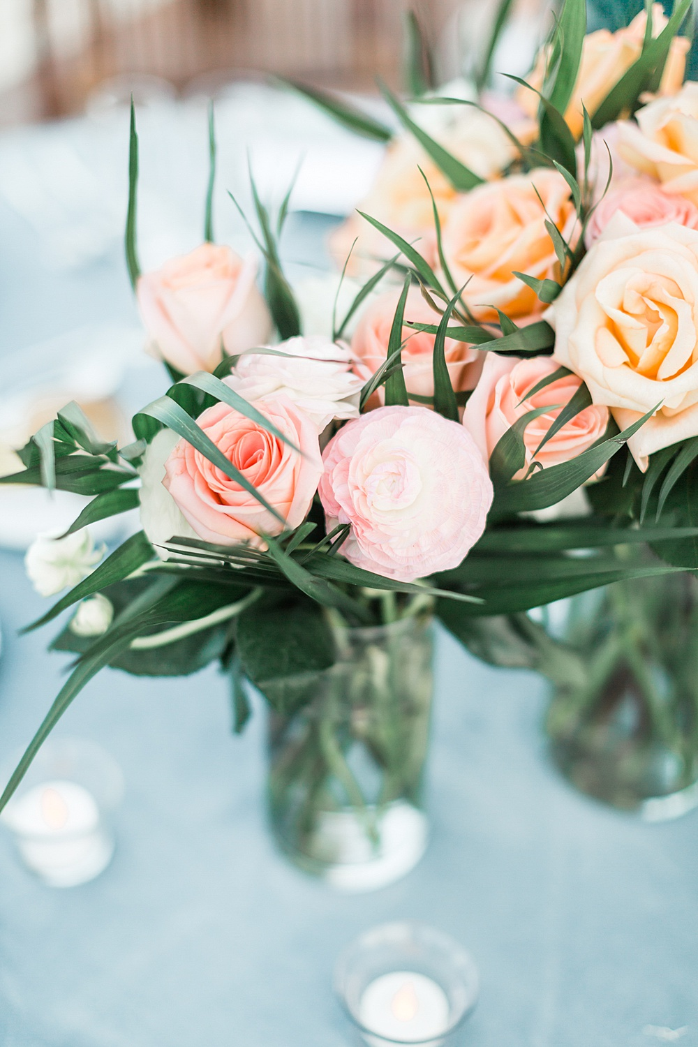 Peach and Pink Rose Wedding Centerpiece