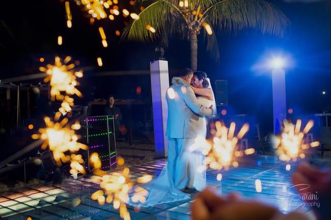 Beach wedding sparklers