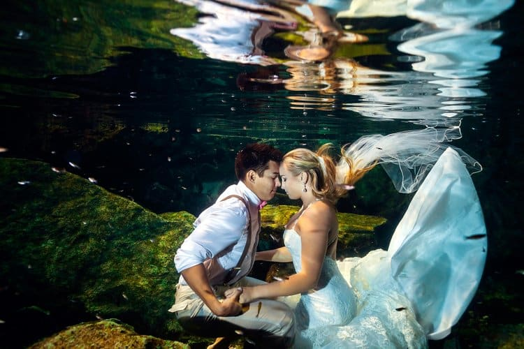 Riviera Maya Underwater Trash the Dress Photos 012