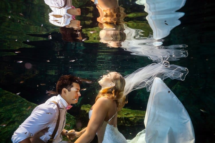 Riviera Maya Underwater Trash the Dress Photos 013