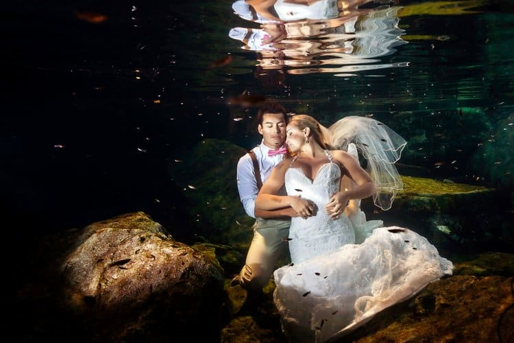 Trash the Dress Photos underwater in Riviera Maya