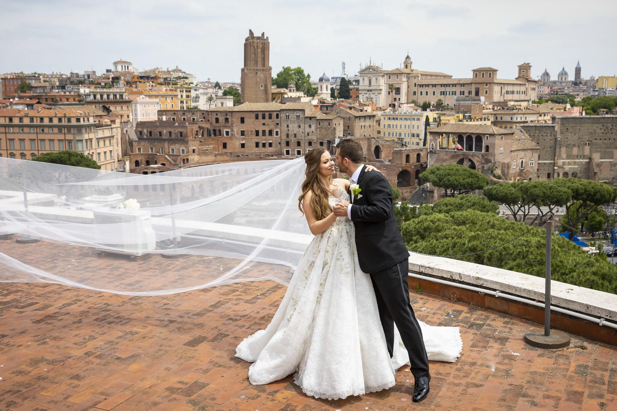 Roman Skyline Wedding Portrait