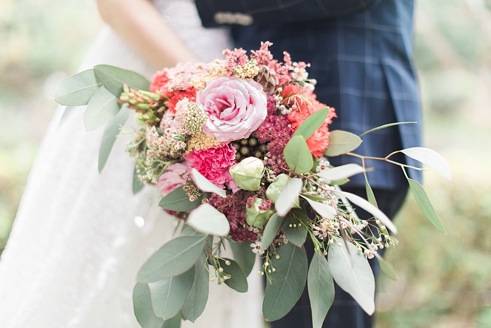 Rose Waxflower Eucalyptus Wedding Bouquet