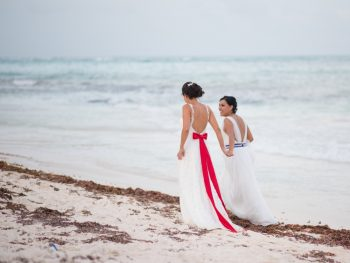 Blissful Beachfront Rainbow Wedding