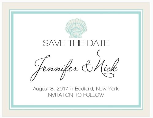 Seashell destination wedding save the date