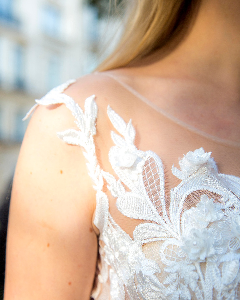 Sheer Lace Wedding Gown Shoulder Detail