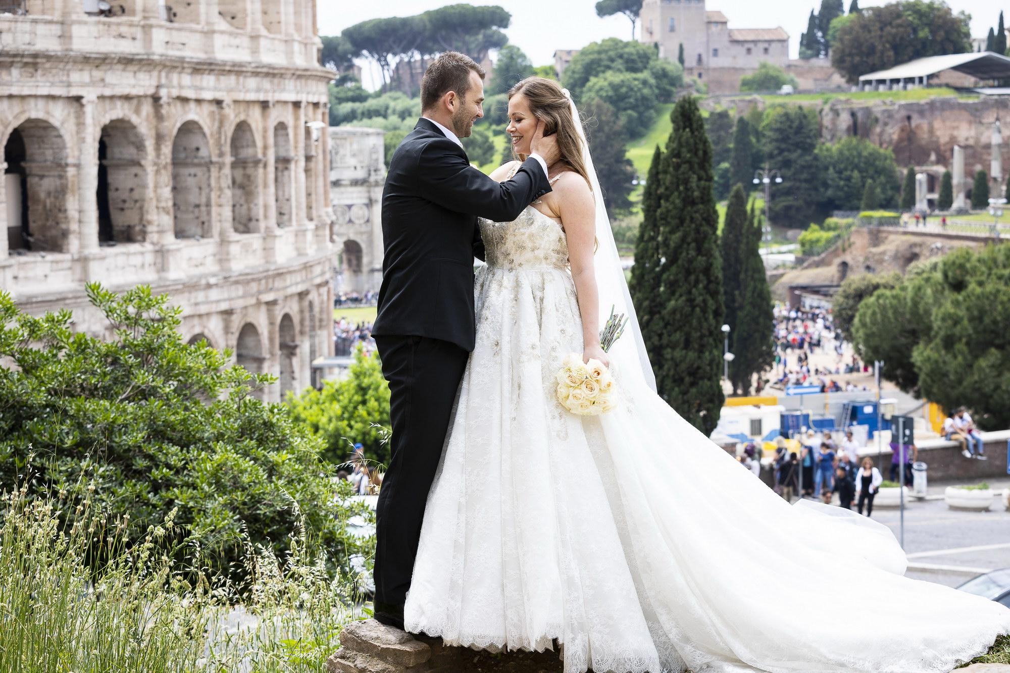 Spanish Steps in Rome Destination Wedding Portrait