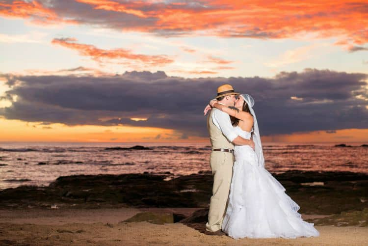Sunset beach wedding in Costa Rica