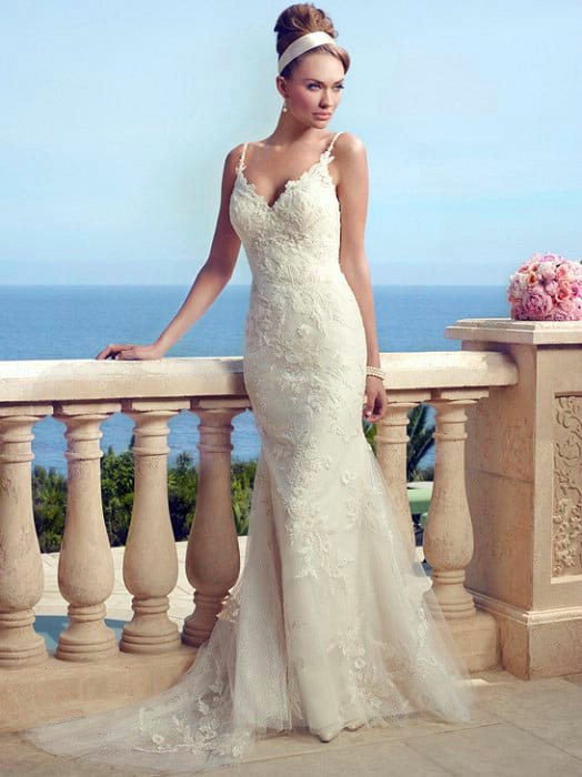 TRUMPET Beach Wedding Gown Casablanca Style 2153