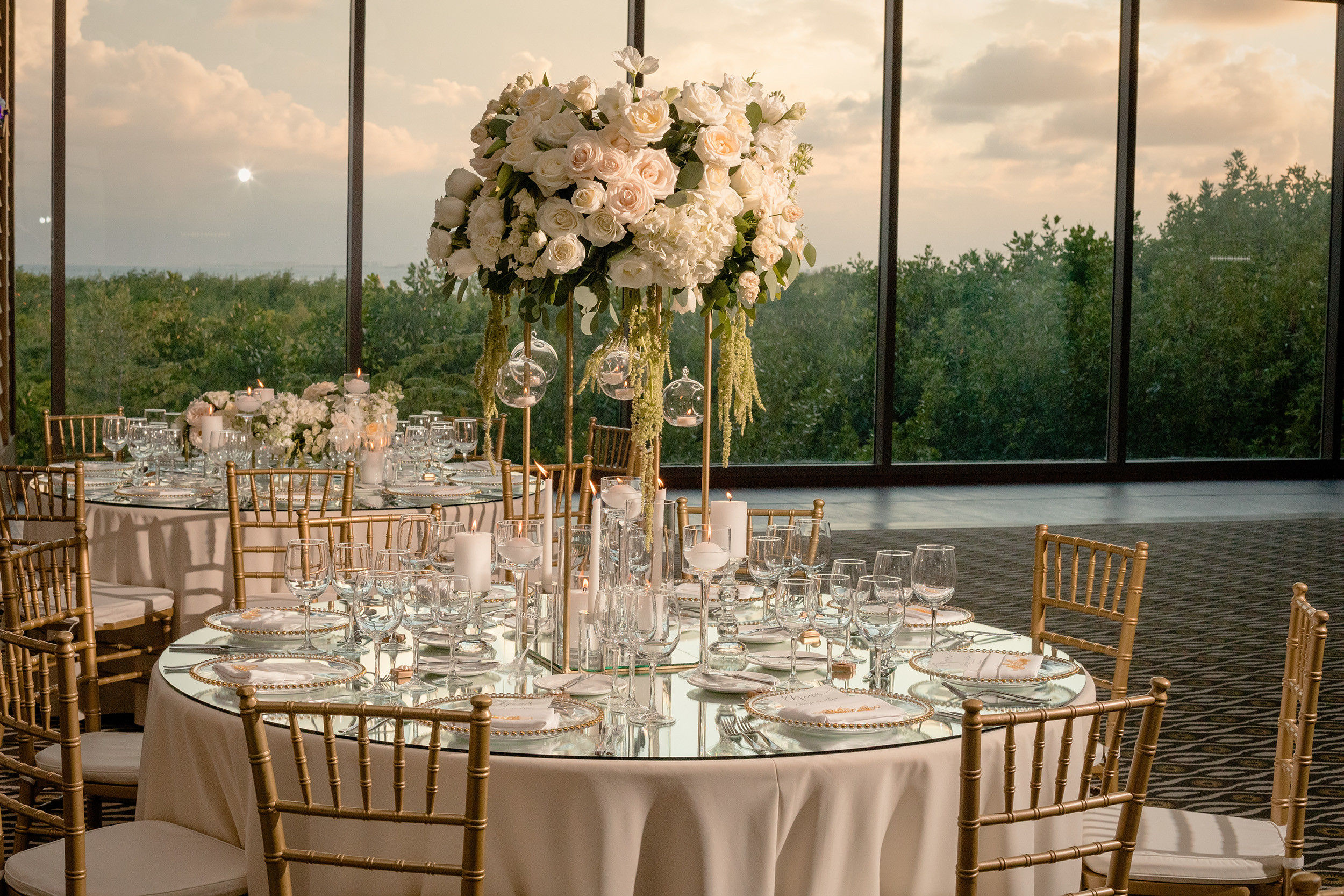 Tall Dramatic Wedding Tablescape