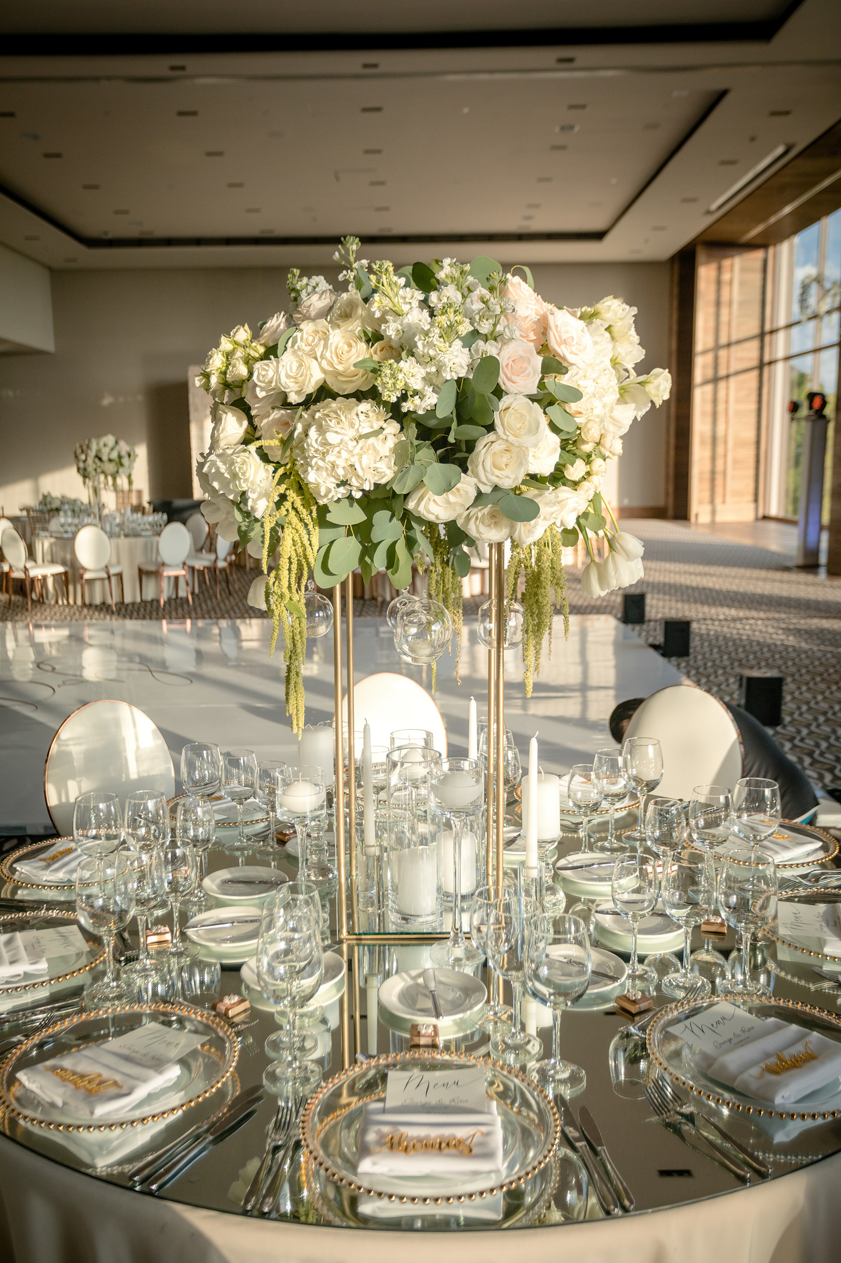 Tall White and Gold Wedding Centerpiece