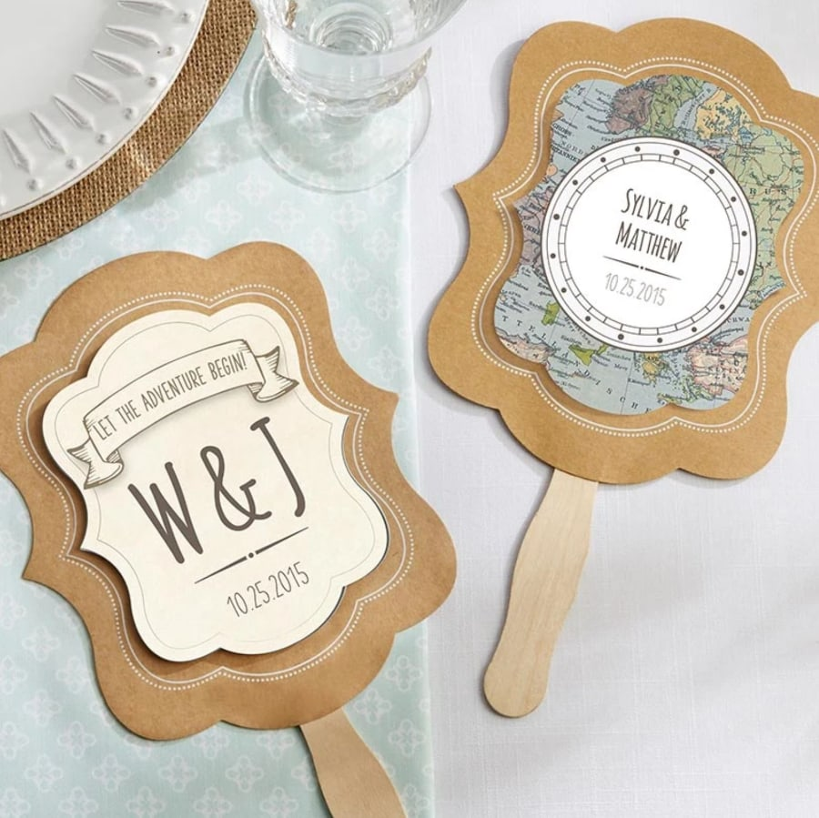 Travel themed wedding fan