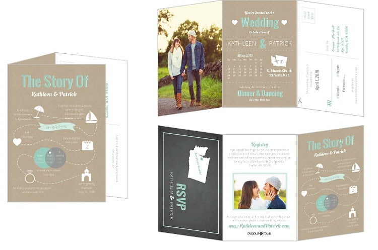 Tri fold destination wedding invitations