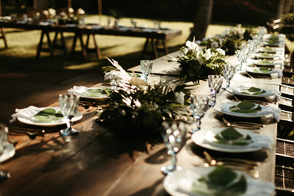 Tropical Farmhouse Table Wedding Reception