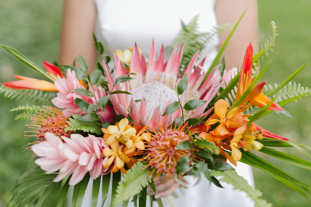 Tropical Ginger Protea Wedding Bouquet