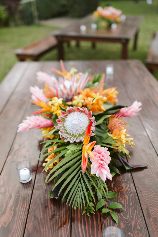Tropical Palm Protea Ginger Wedding Centerpiece