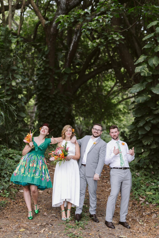 Vintage Hawaiian Wedding Bridal Party