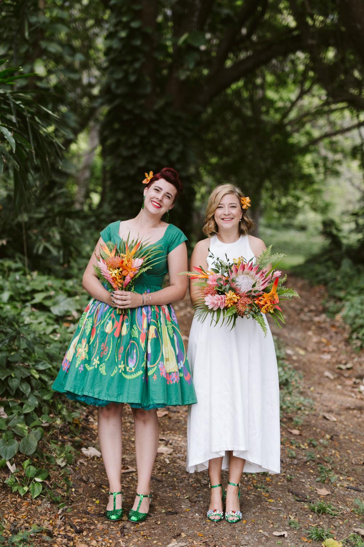 Vintage Hawaiian Wedding Bridesmaids Dress
