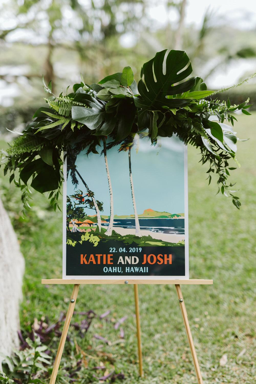 Vintage Hawaiian Wedding Postcard Ceremony Sign