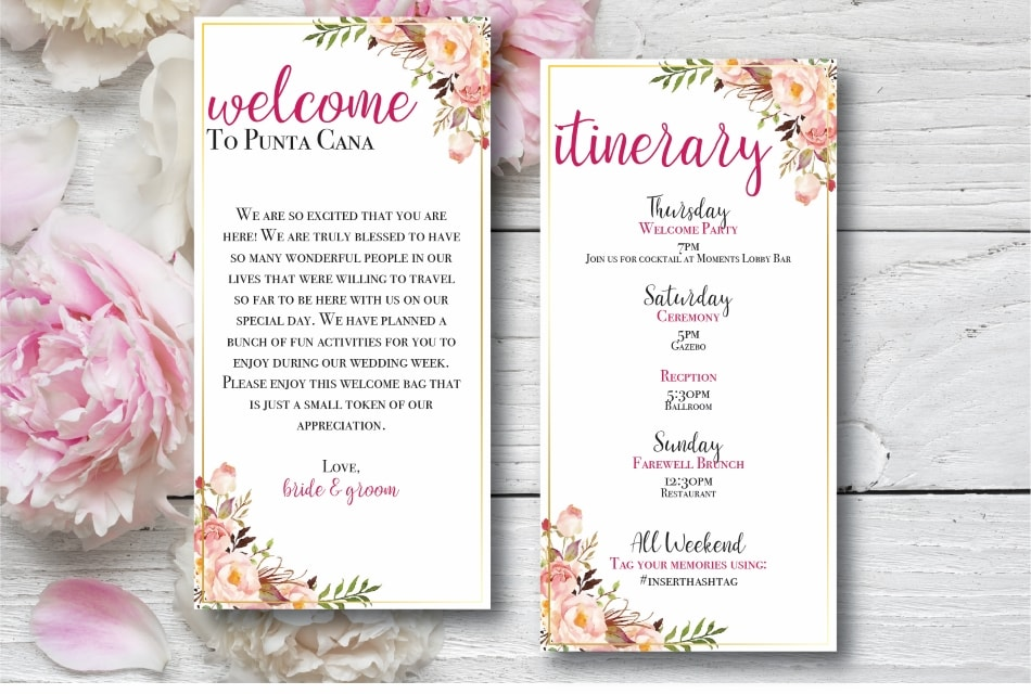 Wedding welcome bag letter and Itinerary