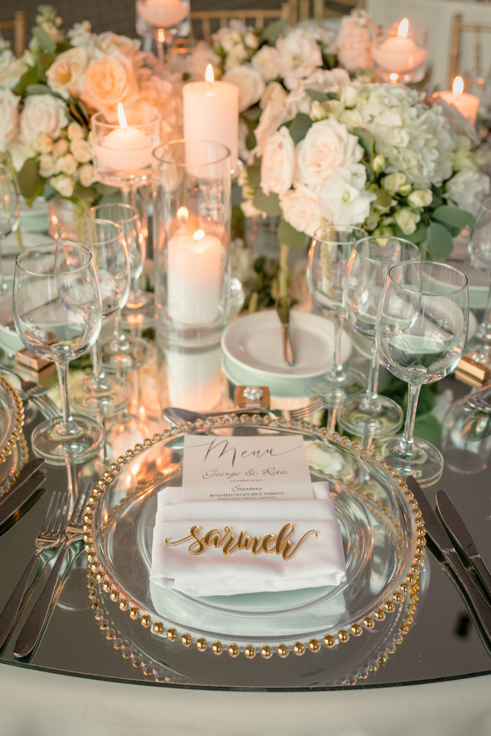 White Hydrangea Rose WEdding Centerpiece