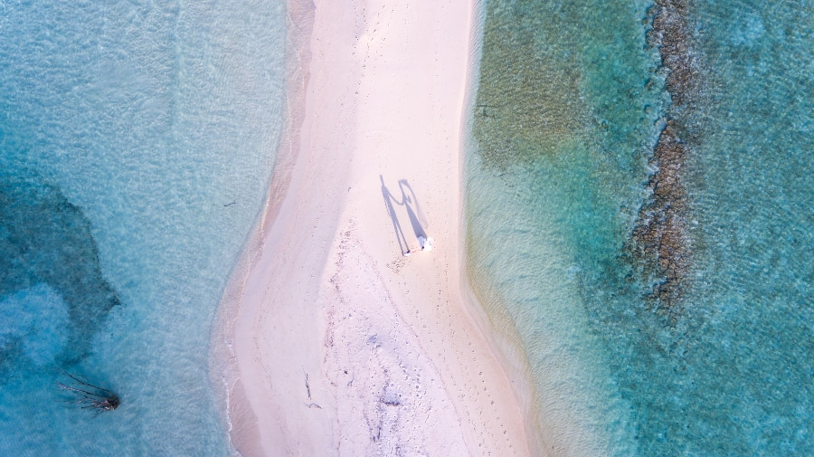 aerial beach wedding photo