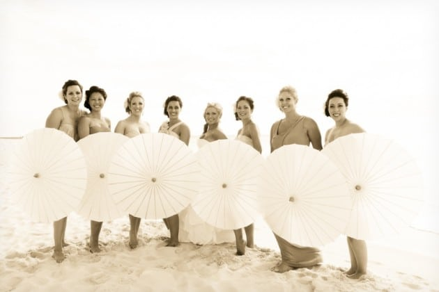beach bridesmaids parasols