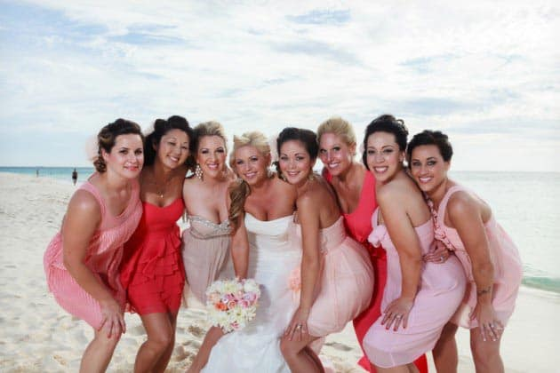 beach bridesmaids pink