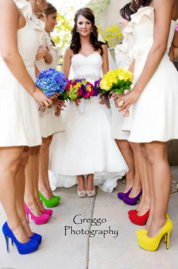 White Bridesmaid Dresses With Colorful Shoes By Greggo Photography
