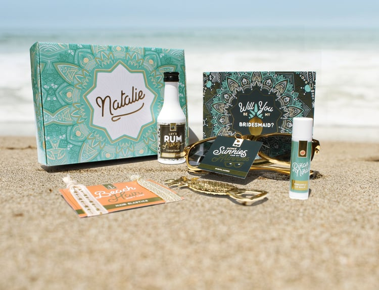 beach destination wedding bridesmaid proposal box