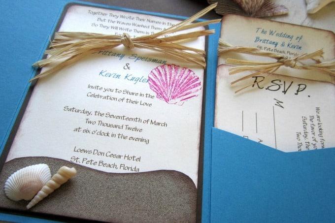 beach theme wedding invitations featured