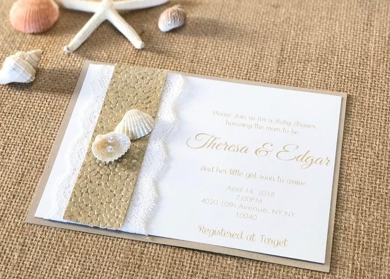 beach theme wedding invitations seashells