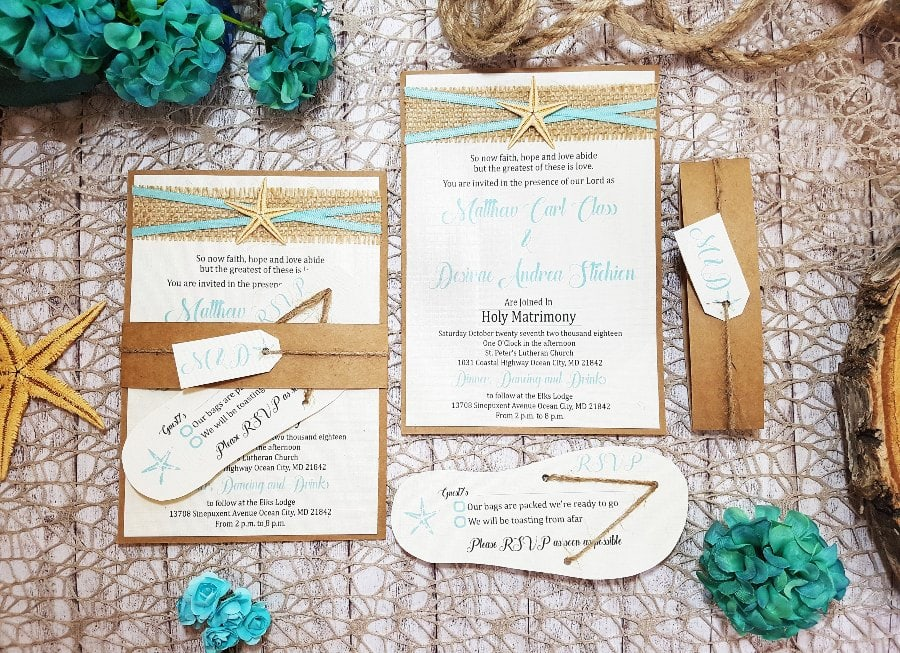 beach theme wedding invitations with flip flops