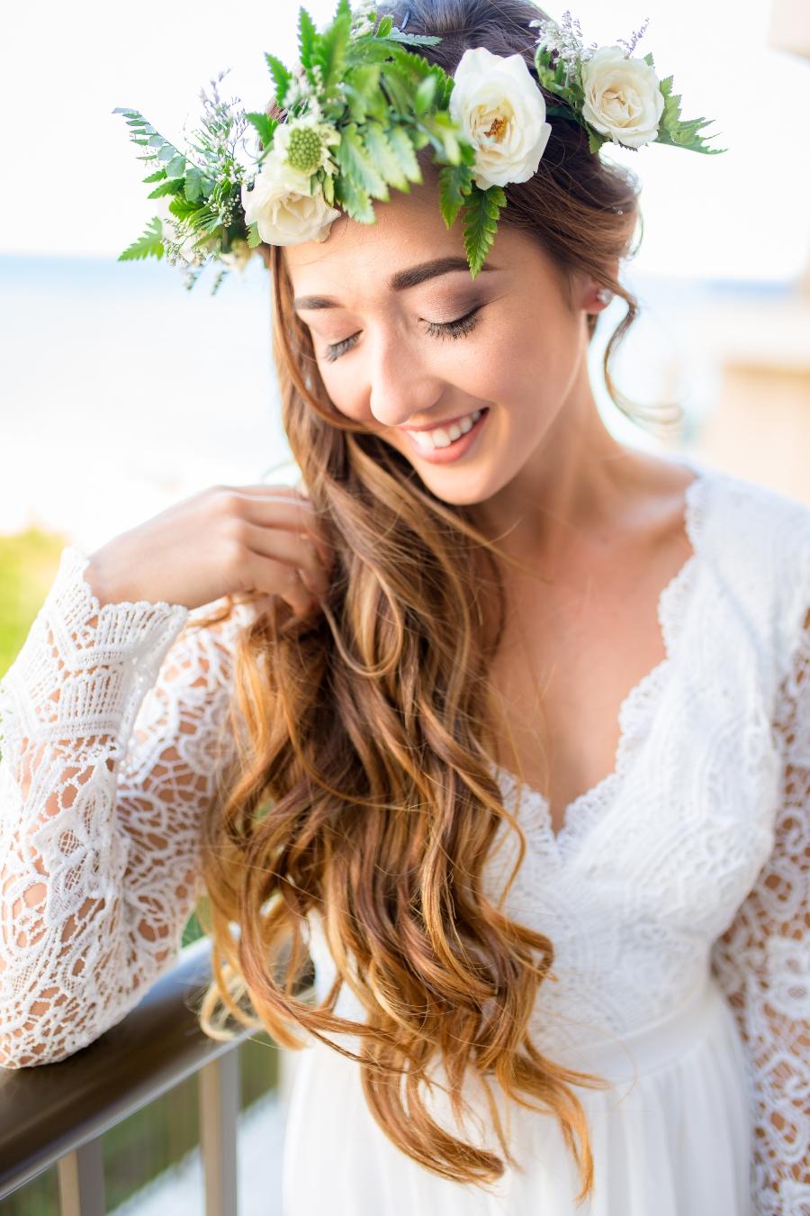 beach wedding attire for bride hair
