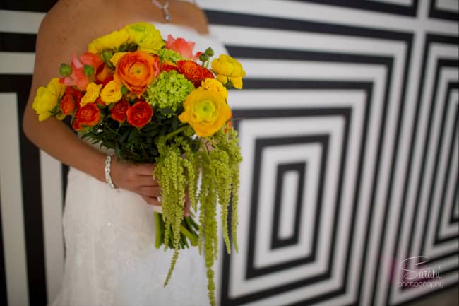 beach wedding bouquet - orange and yellow