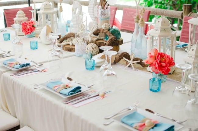 best beach wedding centerpieces