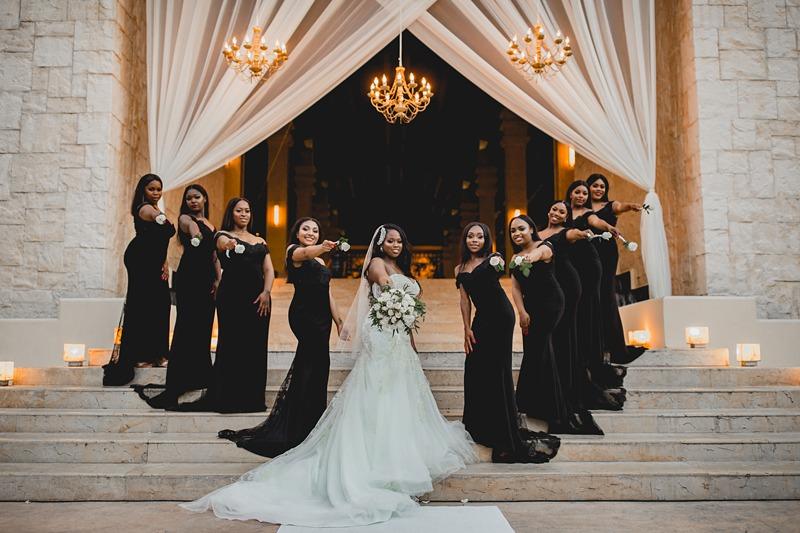 black beach bridesmaid dresses