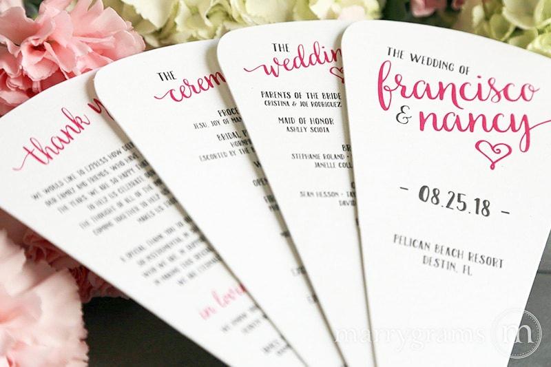 blade wedding program fans