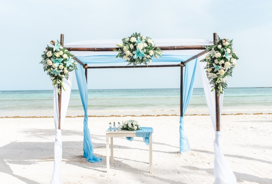 blue and white beach wedding arch decorations