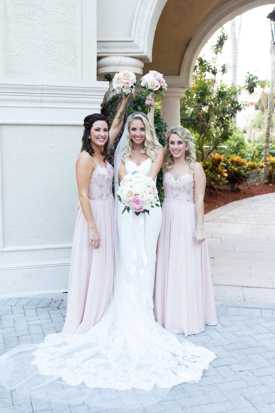 blush beach bridesmaid dresses