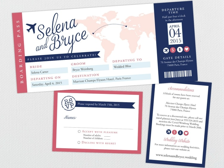 boarding pass destination wedding save the date