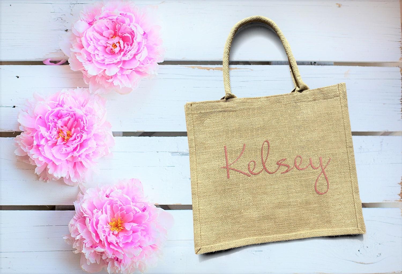 bridesmaid gift burlap bag personalized