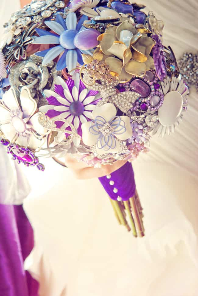 brooch wedding bouquet purple