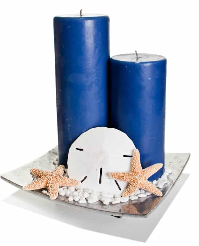 candle beach wedding centerpieces