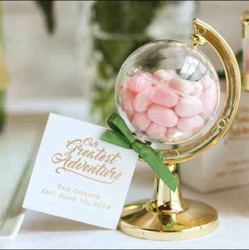 candy globe destination wedding favors
